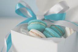 Umore, cibo, dolci, torte, biscotti, crema, blu, scatola, involucro, nastro, nastro, sfondo