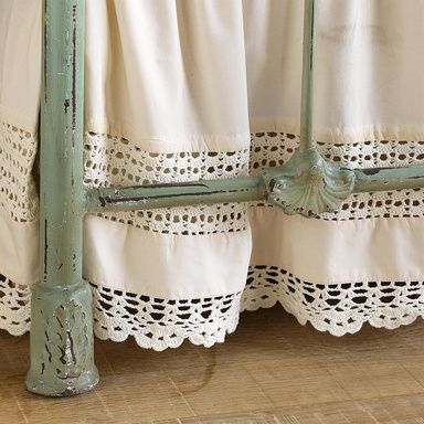 "TROUSSEAU BEDSKIRT -- Hand-crocheted inserts and edging lend heirloom presence to bedding of pristine cotton percale. 15"" drop. Machine wash. Imported. Exclusive."
