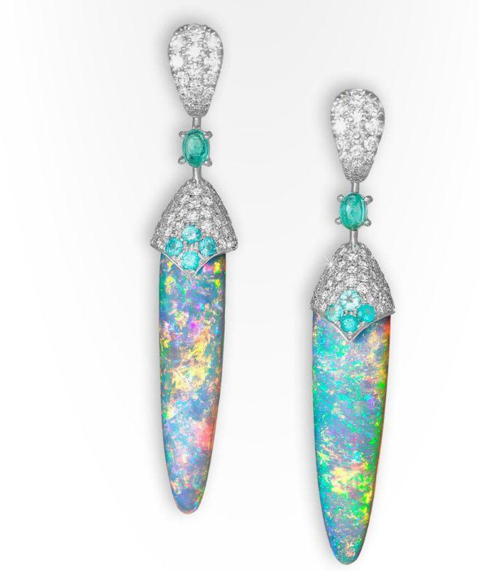 David Morris Opal, Emerald and Diamond earrings