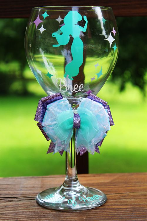 """Princess jasmine idea """"Disney Princess Cocktail hour High Glam Couture style Disney Princesses silhouette glass wine goblet. choose ANY character, (doesn't have to be disney!) disney theme idea including beauty and the beast belle Cinderella little mermaid Ariel jasmine disney Princess wedding bridesmaids gift idea party favor bachelorette party bridal shower birthday drinks Princess cups mugs wineglasses champagne flute martini stemware glassware"""
