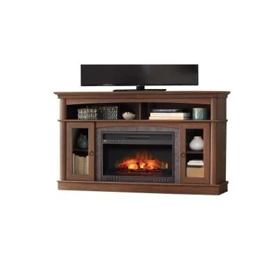 Home Decorators Collection Rinehart 59 In Console Electric Fireplace In Medium Brown Finish
