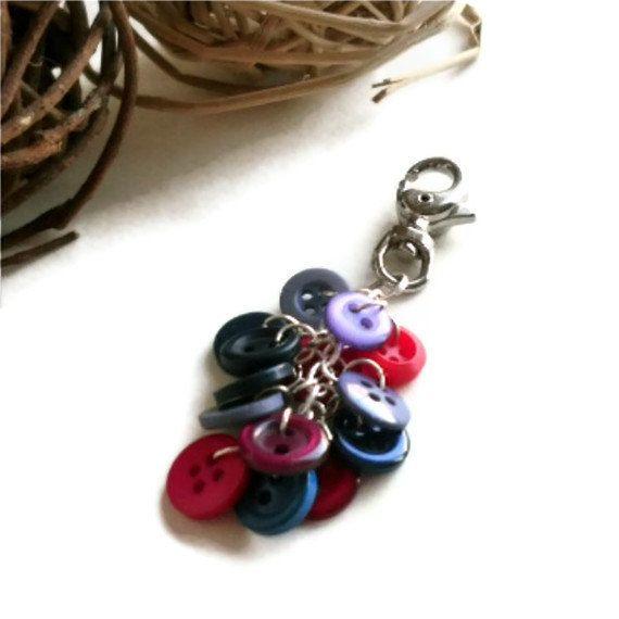 Button Handbag Charm Keyring Keychain