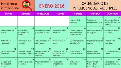Inteligencias múltiples calendario ENERO 2016 INTRAPERSONAL para el cole y la casa