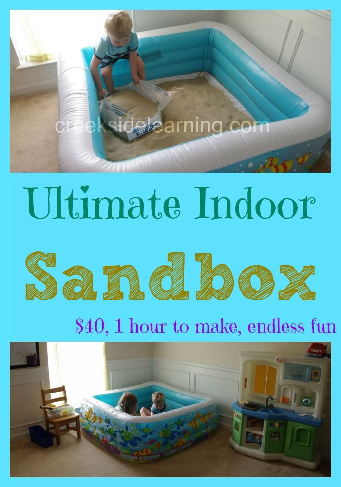 How we learn and play in our Ultimate Indoor Sandbox. The high sides of the pool ensure very little sand gets out.