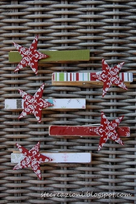 Make these cute star clothespins and put on the top of a paper bag folded down (to keep it closed) with goodies in it for the holidays.  Also to hold cards.