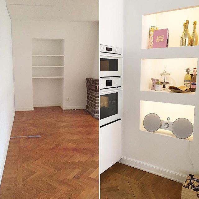 Före/efter bild på vårt kök/vardagsrum. Från början var det en gammal dörröppning som vi gjorde om till en inbyggd hylla i väggen men belysning och så flyttade vi ut köket längst ena väggen i vardagsrummet #renoveringsdamm #amelieinspo