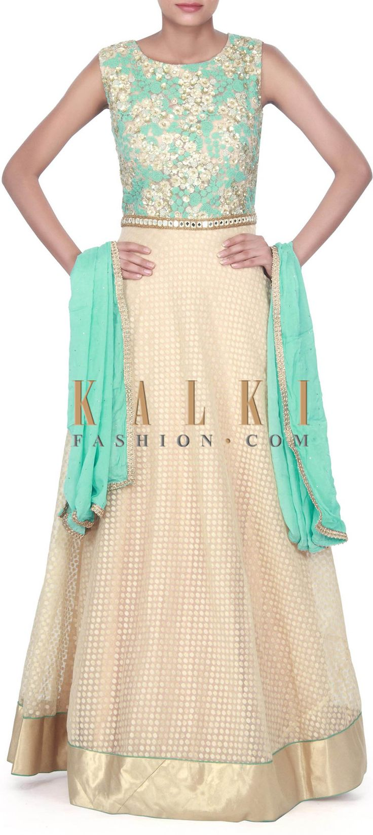 Buy this Beige anarkali suit features with sequin and thread embroidery only on Kalki