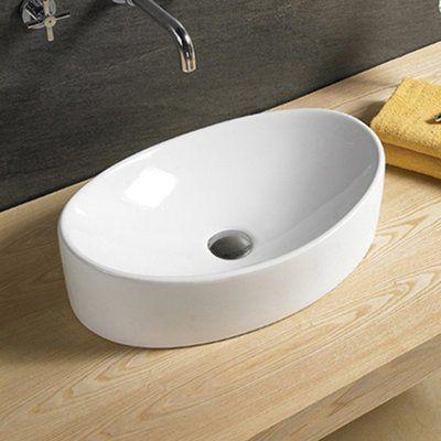 Vanitesse Ceramic Oval Vessel Bathroom Sink Sink Wall Mounted