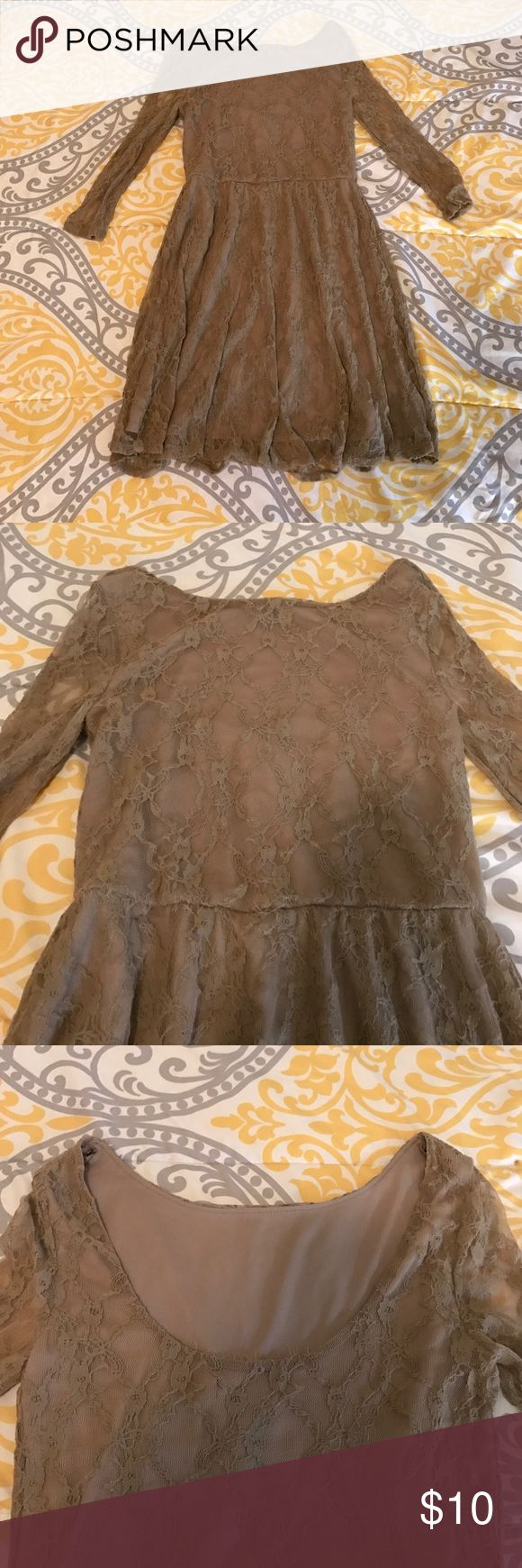 Light brown lace dress Stylish light brown lace dress. A little frayed. Good condition. Smoke & pet free home! Negotiable price, so make an offer! Love Reign Dresses Midi