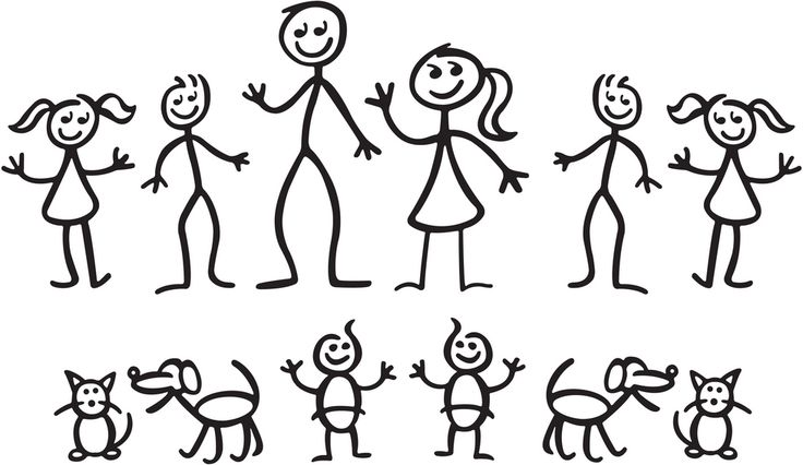Helping children make a stick figure family.