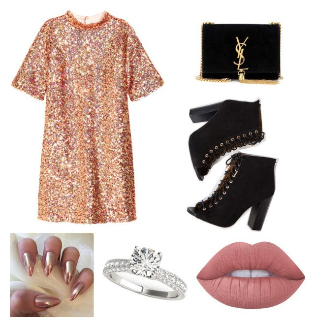 """New Years Party"" by ralucapopa-1 on Polyvore featuring H&M, Yves Saint Laurent and Lime Crime"