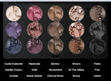 Eyeshadow by M.A.C. - Crystal Avalanche, Passionate, Bamboo, Shroom, Patina, Satellite Dreams, Girlie, Woodwinked, All That Glitters, Print, Contrast, Beauty Marked, Charcoal Brown, Bronze, Carbon