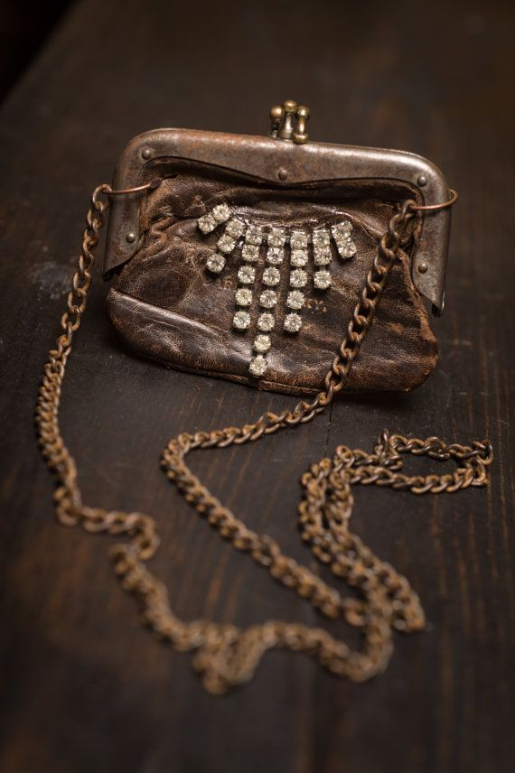 Vintage leather coin purse pendant by GloriousBaubles on Etsy