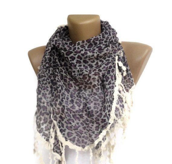summer fashion accessory , women 2013 scarf trend, purple Leopard print fabric scarves