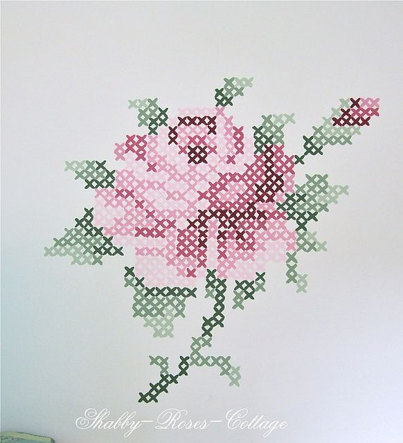 Painted cros stitch roses by *ShabbyRosesCottage*, via Flickr