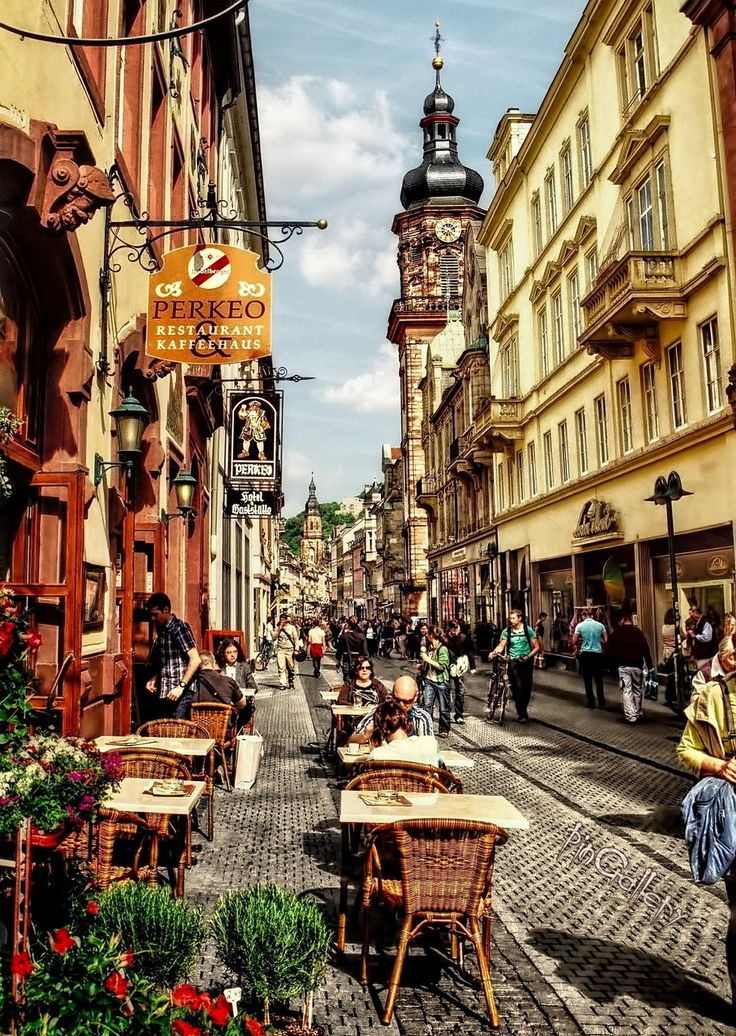 Old Town of Heidelberg I by *pingallery on deviantART;  Mr S can sit here for hours if I let him ;-)