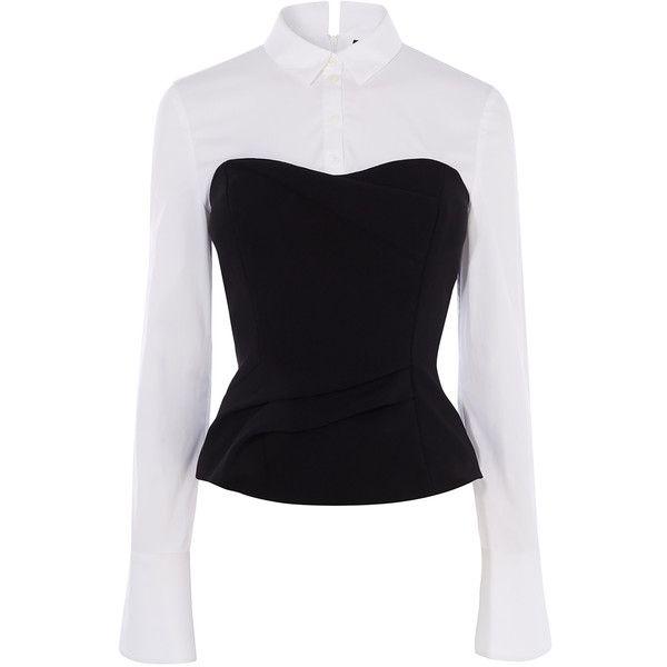 fd25286a781 Karen Millen Corset Shirt ($225) ❤ liked on Polyvore featuring tops, high  collar shirts, long sleeve tops, party tops, corset shirt and long sleeve  party ...