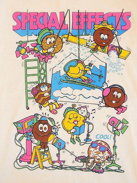 レディースTシャツ古着M&Msエムアンドエムズキャラクタープリント派手柄Tシャツ1980年代【中古】