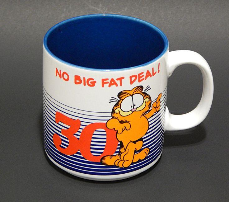 Vintage Garfied Mug No Big Fat Deal 30 Birthday Enesco Jim Davis 1978 #Enesco #Birthday