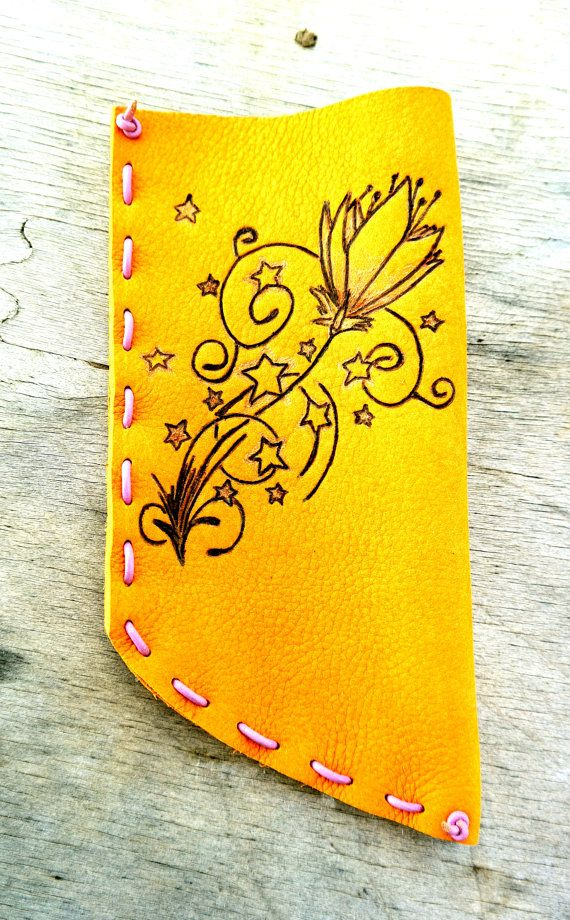 Sunglasses Case With Pyrography by ZackLeatherCrafts on Etsy
