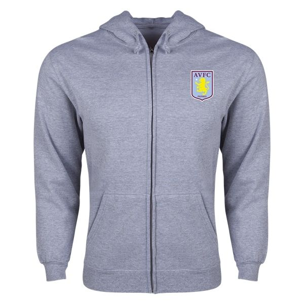 Aston Villa Distressed Club Logo Full Zip Hooded Fleece (Gray)