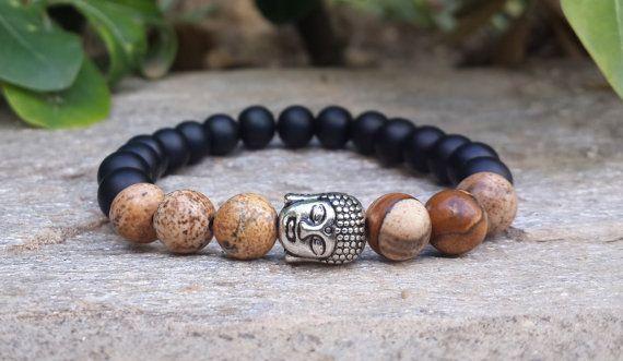 Bohemian Buddha Budhist Bracelet, Matte black onyx - Picture jasper bracelet, Meditation bracelet, Mala Yoga, Reiki charged, Free Shipping
