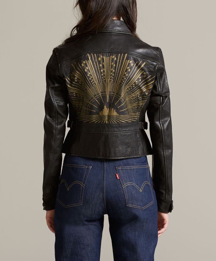 Paint leather jacket
