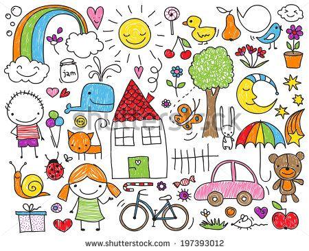 Sammlung von niedlichen Kinderzeichnungen von Kindern, Tieren, Natur, Objekten