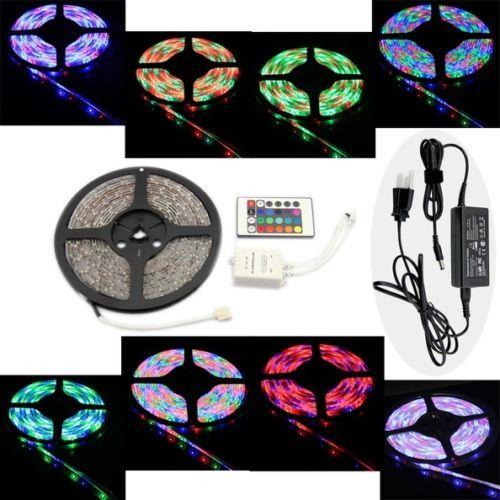 5M-RGB-LED-Streifen-Band-Lichterkette-Stripe-Leiste-Fernbedienung-12V-Netzteil