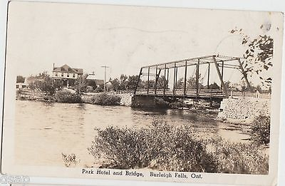 1946 BURLEIGH FALLS Ontario RPPC Postcard PARK HOTEL and BRIDGE River