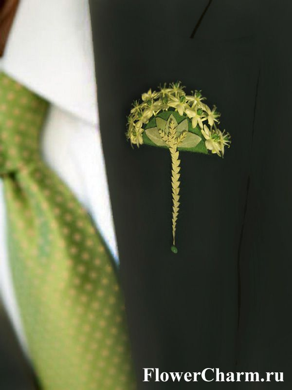 Wonderfully elegant oriental fan style contemporary boutonniere by http://www.flowercharm.ru/services/wedding/butonerka.html. Adorable!!