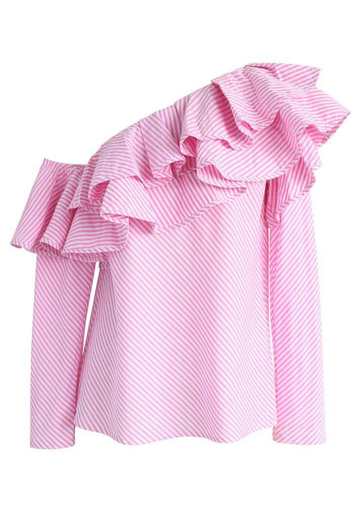 Swanky One-shoulder Ruffle Top in Pink Stripes - New Arrivals - Retro, Indie and Unique Fashion