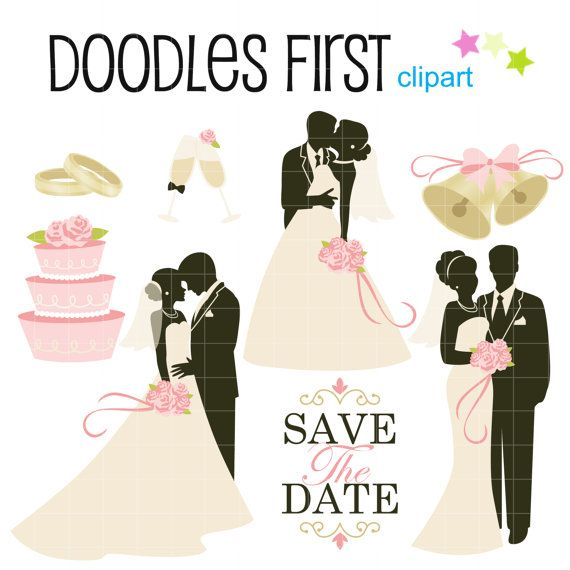 Wedding Couples Bride And Groom Digital Clip Art For