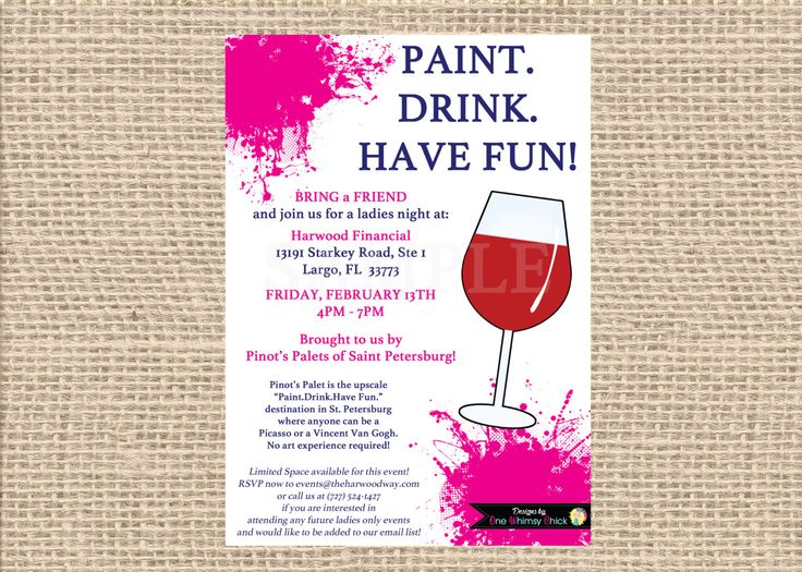 11 best images about invitations on pinterest birthday for Wine paint party
