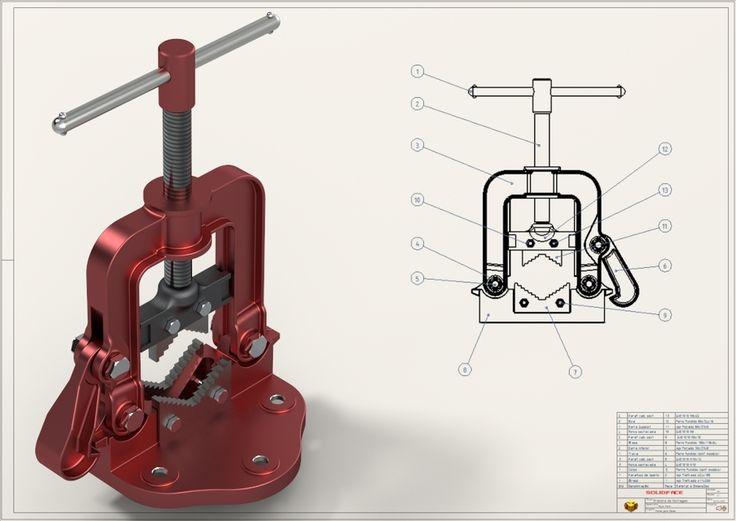 Pipe Vise   Morsa para Canos - STEP / IGES,SolidFace,STL - 3D CAD model…