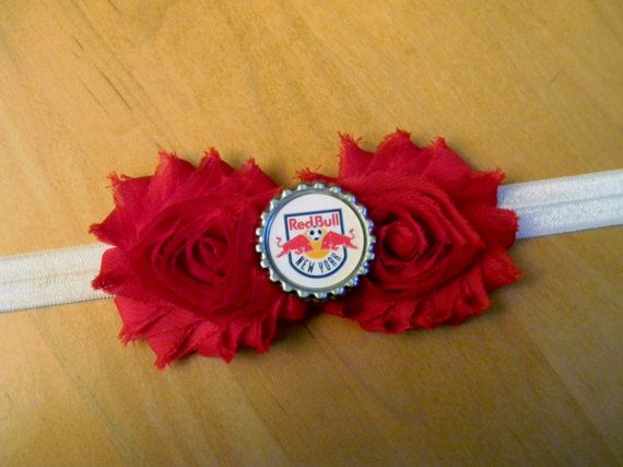 NY Red Bulls inspired shabby flower by GracieDevine on Etsy, $8.00 www.graciedevine.etsy.com