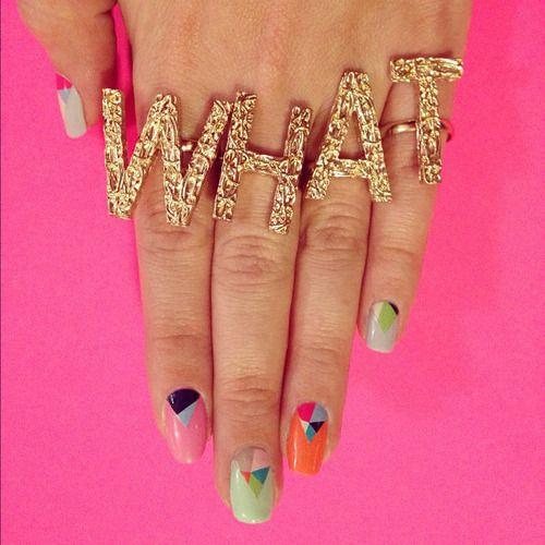 Geometric nails and bright hues