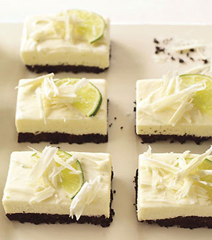 White Chocolate and Lime Cheesecake Bars.
