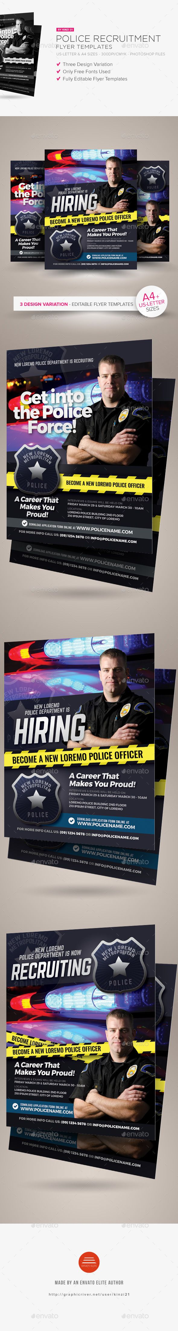 Police Recruitment Flyer Templates — Photoshop PSD #recruitment #city • Available here ➝ https://graphicriver.net/item/police-recruitment-flyer-templates/20607568?ref=pxcr