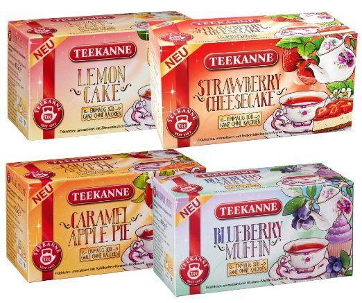 """Teekanne Früchtetee """"Sweeteas"""" 4er Set - Strawberry Cheesecake, Blueberry Muffin, Caramel Apple Pie, Lemon Cake (4x 40,5g) von Teekanne"""