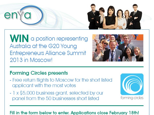 #Win a position representing #Australia at the G20 Young #Entrepreneurs Alliance Summit 2013 in Moscow. APPLY NOW.
