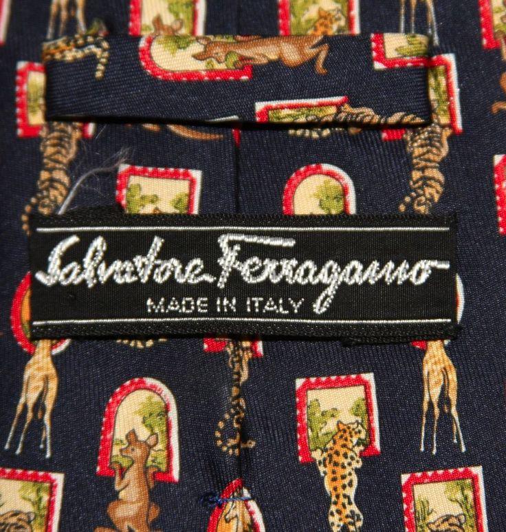 Salvatore Ferragamo Silk Tie Italy Classic Blue Giraffe Kangaroo Tiger Leopard #SalvatoreFerragamo #NeckTie