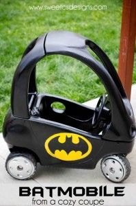Batmobile from a Cozy Coupe. Directions call for using a Cricut... would either need someone with one to make me the batman logo, or need another way to do it. But what a great idea, especially to repurpose a used/gross looking coupe!!