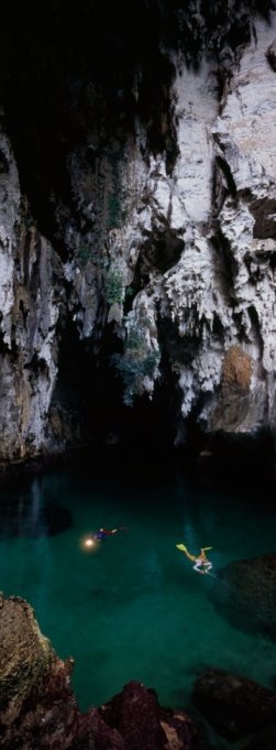 Diving in a cave on Misool Island, Raja Ampat islands, Indonesia