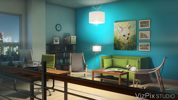 Modern Home Office Loft Visualization by VizPix Studio