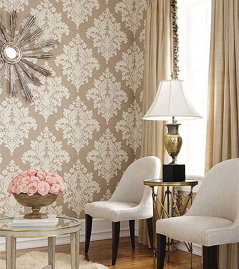 Luxury Beige Damask Wallpaper love the wallpaper
