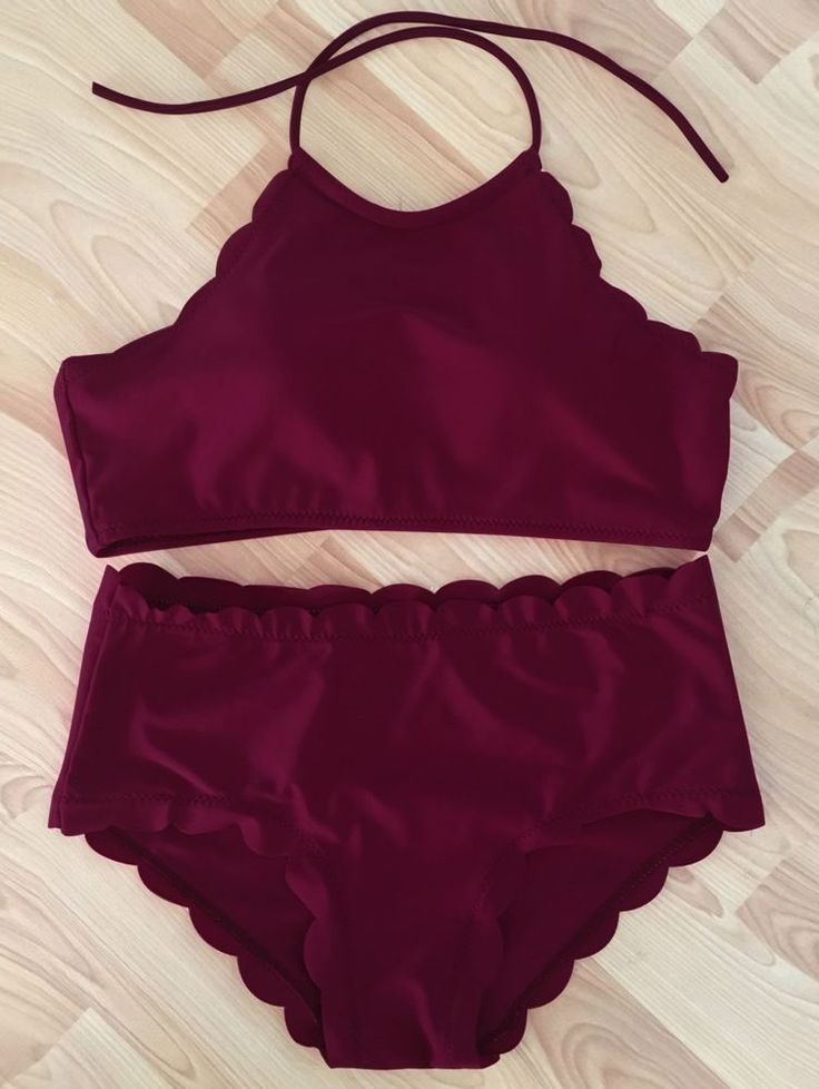 $16.68 FREE SHIPPING!!!!!! Red, Wine, Scallop, High Neck, Halter, Bikini, Swimsuit