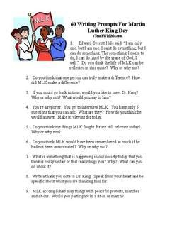Martin Luther King activities: 60 writing prompts for MLK Day.  FREE