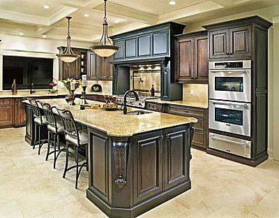 Double ovens!Dreams Kitchens, Dark Cabinets, Colors, Dreams House, Kitchens Ideas, Double Ovens, Weights Loss, Big Islands, Dream Kitchens