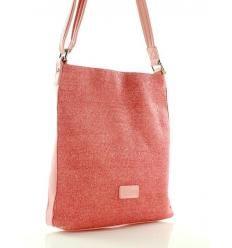 Wyplatana torebka listonoszka różowa